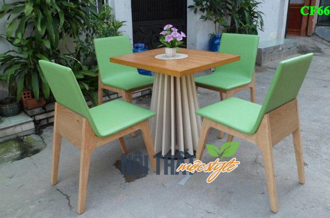 Mẫu bàn ghế cafe gỗ CF66 đệp trẻ trung và sang trọng