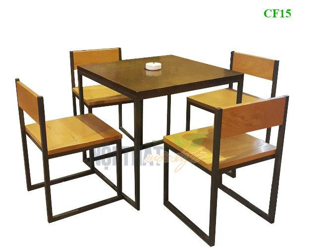 Bàn ghế chân sắt mặt gỗ giá rẻ, đẹp nhất Hà Nội