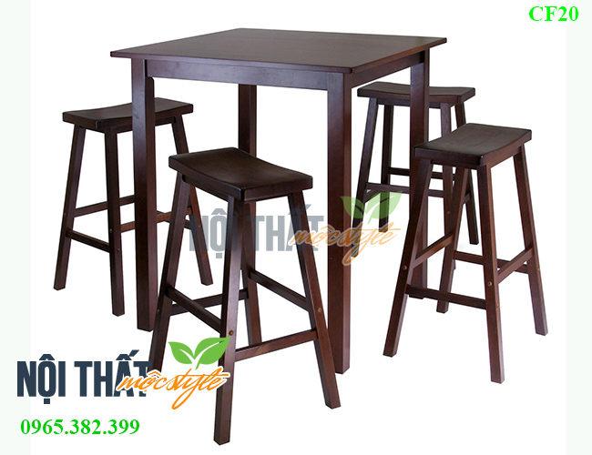 Bộ bàn ghế bar gỗ CF20 đẹp mộc mạc, giá rẻ