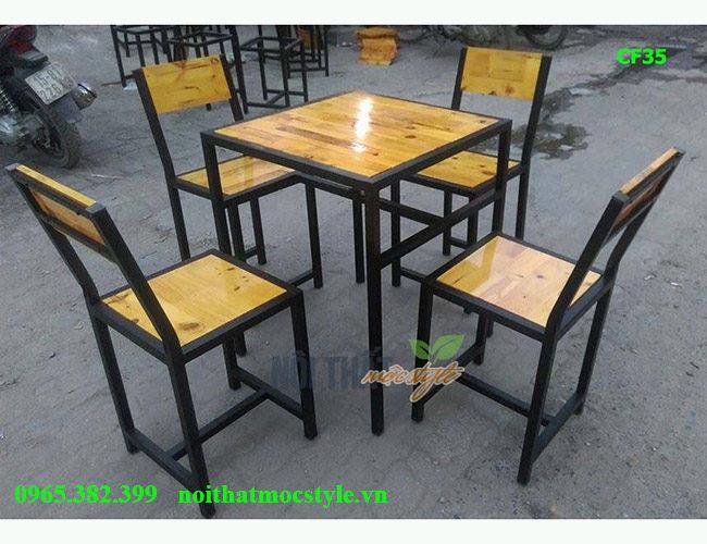 Bàn ghế cafe CF35 đẹp, bàn ghế chân sắt giá rẻ
