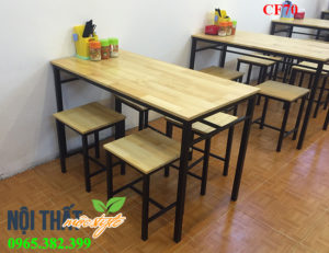 Bàn ghế đôn chân sắt mặt gỗ CF70 lựa chọn số 1 cho các quan cơm, phở, quán ăn bình dân, bàn ghế quán ăn giá rẻ