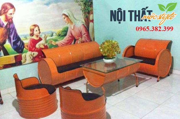 Bàn ghế sang tạo từ thùng phi-noithatmocstyle.vn