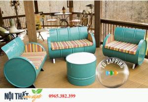 noithatmocstyle.vn-Bàn ghế thùng phi TP05 đẹp với sắc xanh trang nhã