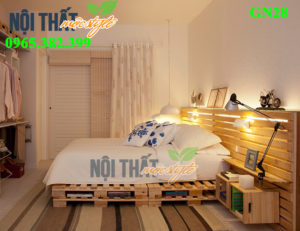 Giường pallet GN28, giường ngủ gỗ thông rẻ đẹp