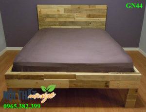 giường pallet gỗ Gn44 đẹp style cá tính, độc mộc, giá rẻ