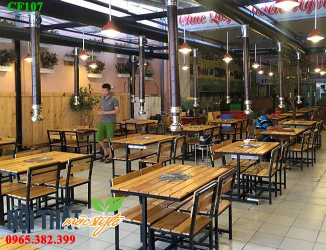 Bàn ghế lẩu nướng CF107 đẹp, giá rẻ nhất Hà Nội-noithatmocstyle.vn
