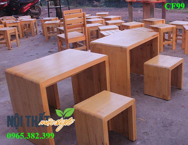 Bàn ghế quán trà sữa CF99 đẹp mộc mạc, dễ thương với chất liệu gỗ tự nhiên