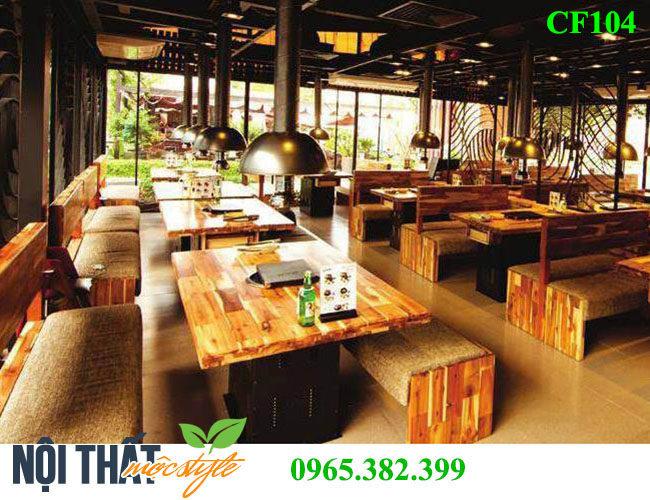 Hình ảnh thi công nhà hàng sử dụng bộ bàn ghế lẩu nướng CF104
