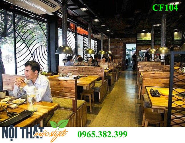 Bộ bàn ghế quán lẩu nướng CF104 đẹp, ấn tượng nhất định phải xem khi mở nhà hàng