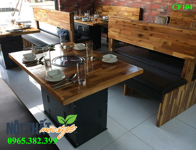 bàn ghế lẩu nướng CF104 đẹp, chất lượng cao cho nhà hàng sang trọng
