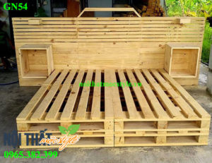 Giường pallet GN54 đẹp mọc mạc, đầy phá cách, giá siêu rẻ từ pallet gỗ