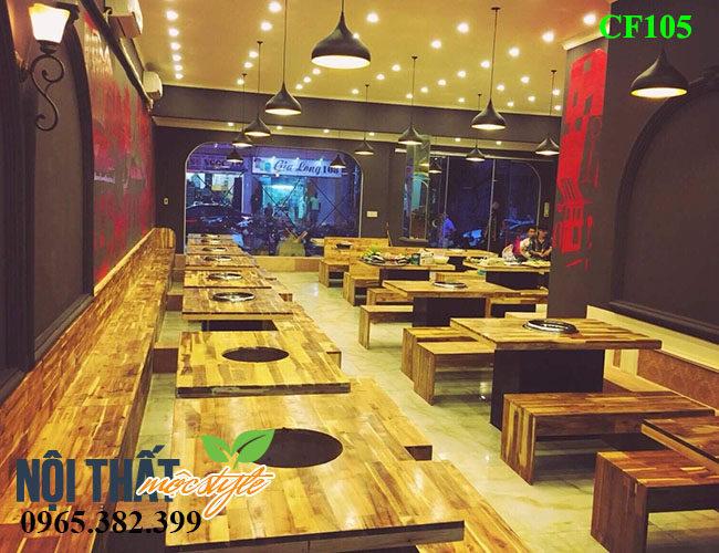 Bộ Bàn ghế quán lẩu nướng CF103 cho nhà hàng đẳng cấp-noithatmocstyle.vn