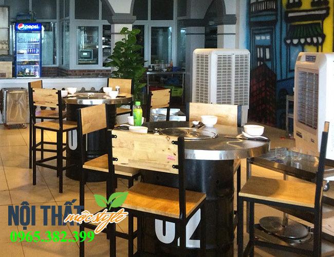 Bàn ghế nướng thùng phuy TP22 với kích thước bàn ghế bar đẹp độc đáo, sang trọng với giá rẻ nhất