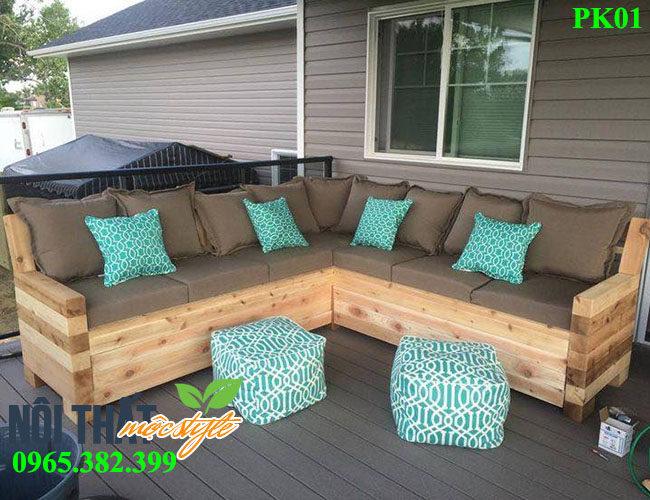 mẫu Bàn ghế phòng khách PK01 đẹp mộc mạc, phong cách cổ điển