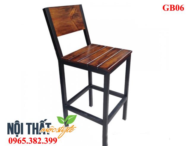 Ghế bar GB06, ghế chân sắt mặt gỗ đẹp, chất lượng, giá rẻ cho quán cafe, nhà hàng, beer club