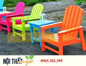 bàn ghế gỗ cafe CF78 đầy màu sắc, thiết kế đẹp từ pallet gỗ