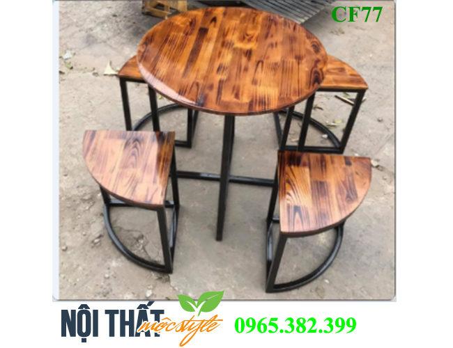 Bộ bàn ghế cafe CF77 đẹp với phong cách Vintage-noithatmocstyle.vn
