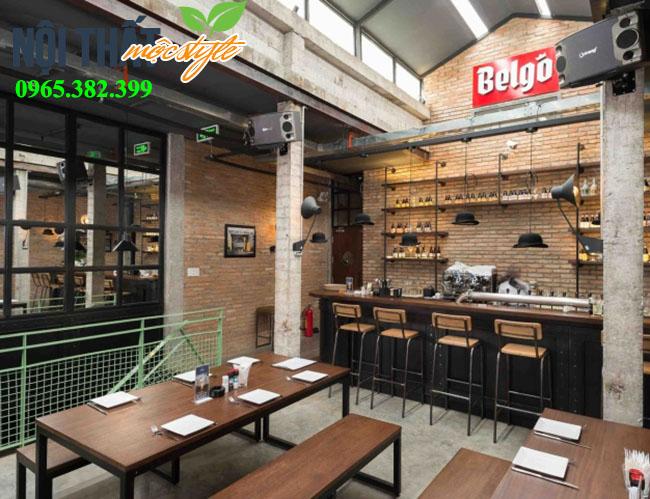 Mẫu thiết kế nhà hàng Belgo phong cách công nghiệp đẹp ấn tượng, chi phí tiết kiệm