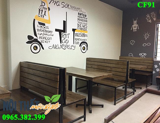bàn ghế cafe CF91 đẹp cổ điển, ghế băng chân sắt mặt gỗ giá rẻ