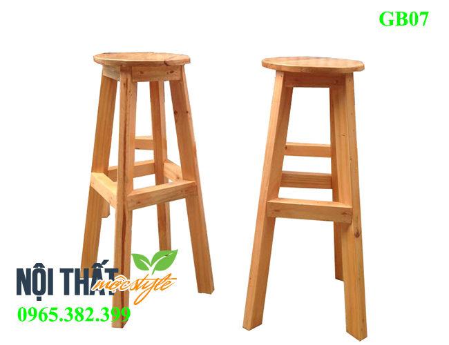 Mẫu Ghế bar gỗ GB07 đẹp mộc mạc cho quán cafe ấn tượng, giá rẻ nhất