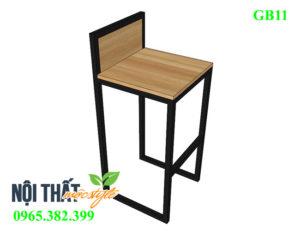 Mẫu ghế bar khung sắt mặt gỗ GB11 đẹp