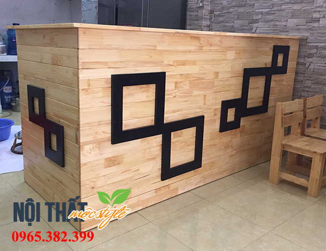 Mẫu quầy bar đẹp từ gỗ thông dành cho quán ăn vặt-noithatmocstyle