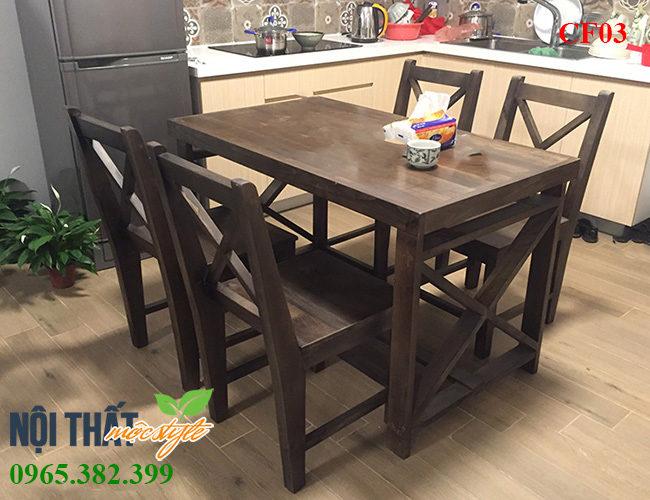 Bàn ghế gỗ CF03 nâu trầm ấm, sản xuất trực tiếp rẻ nhất tại Nội thất mộc Style