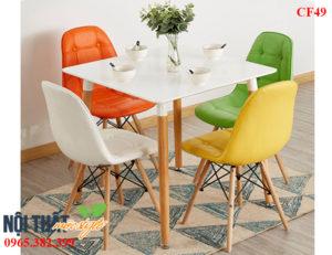 Bàn ghế cafe eames CF49 nhỏ nhắn với nhiều màu sắc dễ thương, làm đẹp hơn cho mọi không gian