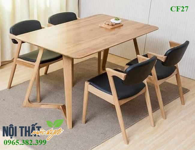 Bộ bàn ăn Cf27 kết hợp ghế chữ Z hiện đại và bàn Twist