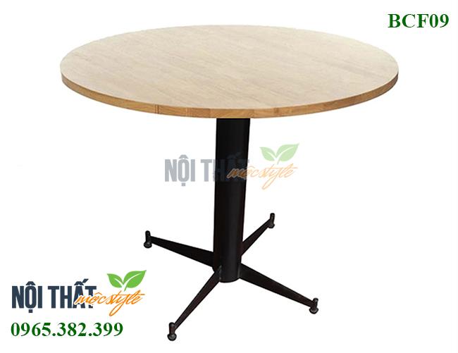 Bàn cafe BCF09 đẹp, bàn chân sắt mặt gỗ có thể điều chỉnh độ cao
