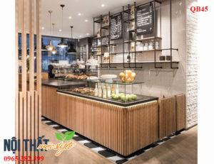 quầy bar cafe QB45 tạo hình từ nan gỗ thông xếp khít vô cùng tinh tế