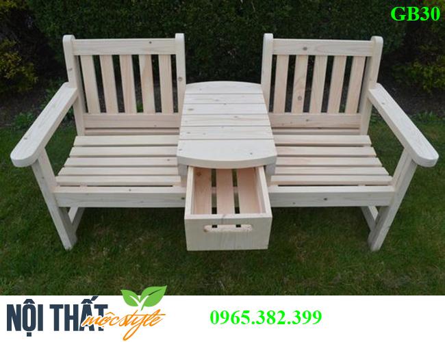 Ghế băng gỗ GB30 kết hợp với bàn tiện lợi