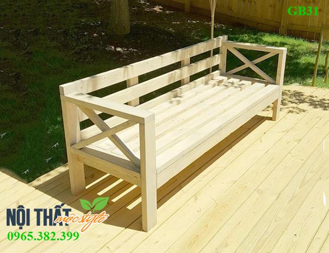 Ghế băng gỗ GB31 thiết kế thô mộc, khoẻ khoắn