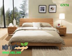 Mẫu giường ngủ gỗ sồi GN74 đẹp nhất giúp bạn tận hưởng giấc ngủ ngon và an yên