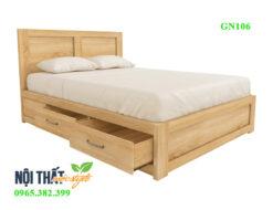 Giường đơn 1m2 GN106 gỗ sòi tự nhiên đẹp và chất