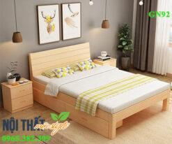 Giường đơn 1m2 GN92 gỗ sồi nét đẹp mộc mạc